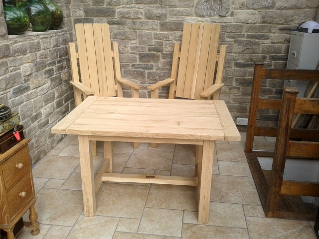 Oak Garden Table and Chairs