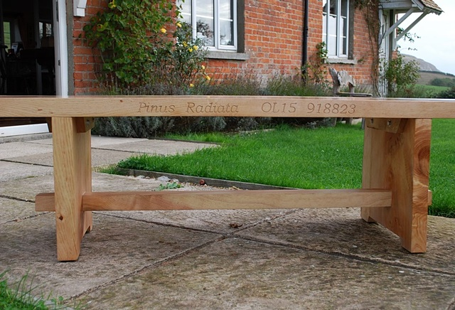 Softwood Kitchen Bench (with Latin Inscription)